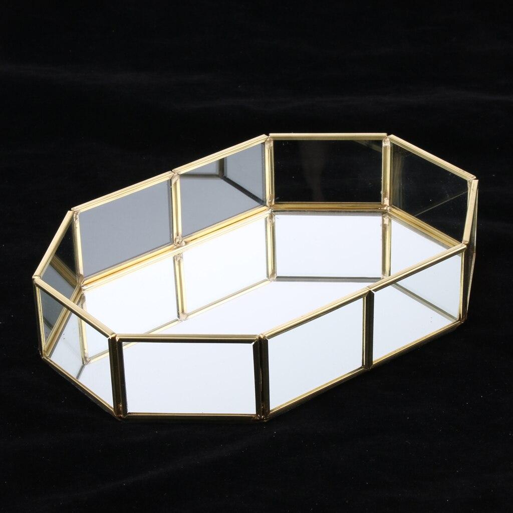 Fashion Brass Glass Jewelry Display Tray Cosmetic Organizer Storage Box Dessert Plate Decorative Tray