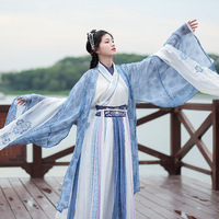 chinese ancient costume hanfu women big long sleeve shirt embroidered antique elegant mandarin chip waist cosplay costume