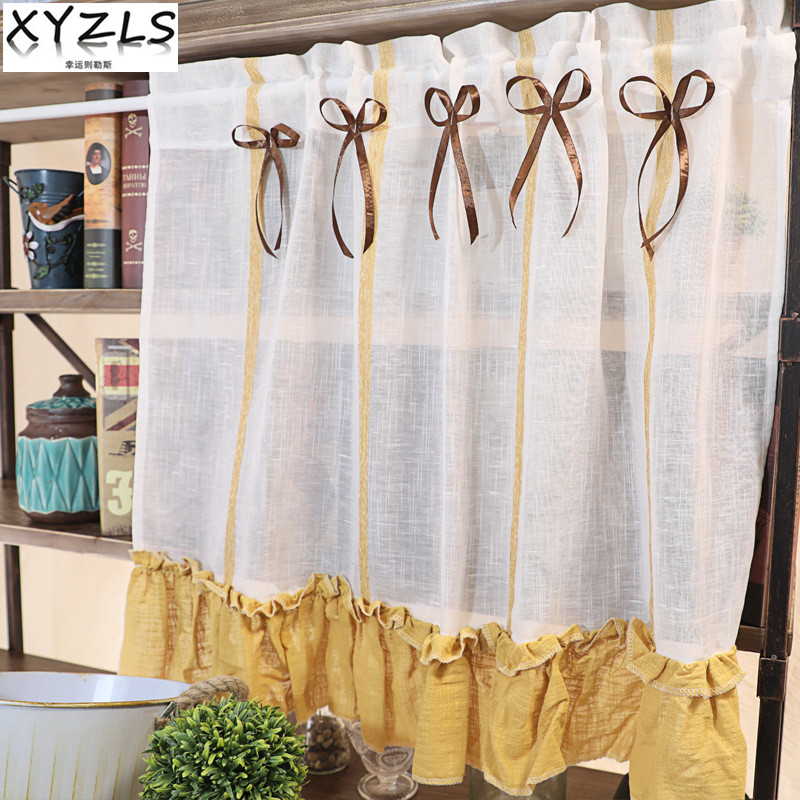 US $12.54 20% OFF XYZLS Japanese & Korea Style Yellow Kitchen Curtain  Cupboard Screen Cafe Half Curtain Short Panel Drapes Door Curtains  Valance-in ...