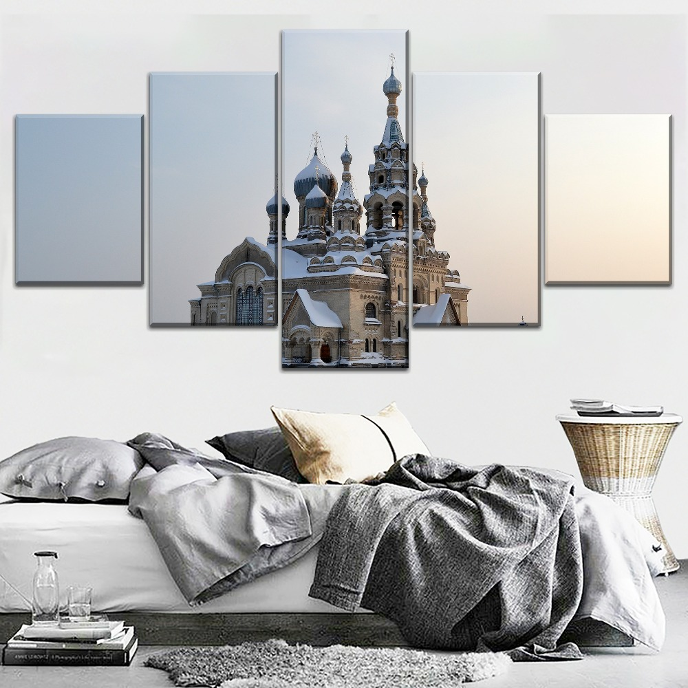 Home Decorative Printed Type Canvas Painting One Set 4 Panel Modular Winter Snow Russia Redeemer Cathedral Pictures Wall Art in Painting Calligraphy from Home Garden