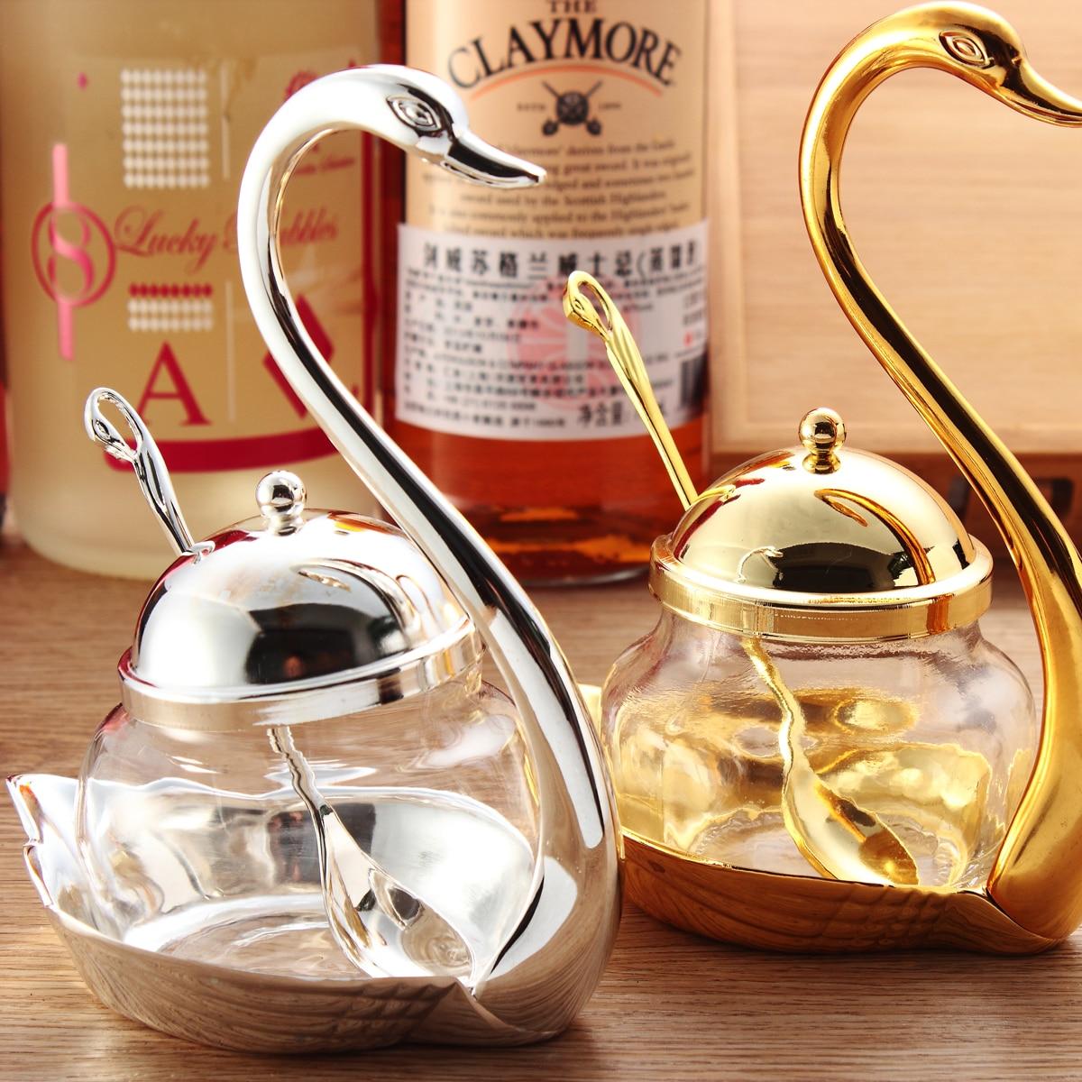 Seasoning bottle Swan sugar bowl with spoon set salt pot set spice jar set spice jars