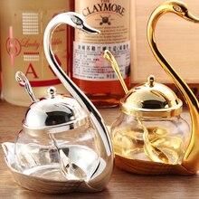Приправы бутылки Лебедь сахарница с ложкой соли горшок набор специй банку набор баночки для специй Хранения Бутылок и Банок