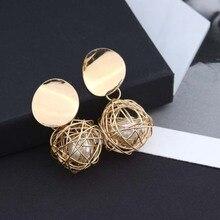 Gold color Fashion statement earrings 2018 ball Geometric earrings For Women Hanging Dangle Earrings Drop Earing modern Jewelry