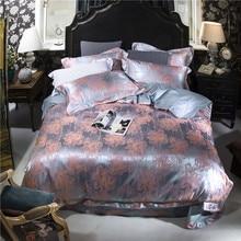 high density silk cotton jacquard bedding sets  print linens duvet cover pillowcases flat sheet