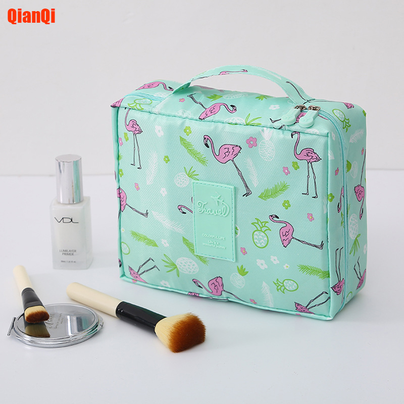 QianQi Multifunction Travel Cosmetic Bag Neceser Women Makeup Bags Toiletries Organizer Waterproof Female Storage Make Up Cases