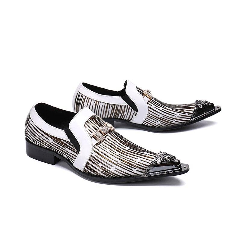 Metal Homme Genuíno Deslizamento Oxfords Dedo Negócios Casamento Apontado Couro As Decoração De Sapatos Picture Beertola Vestido Homens Tarja Chaussure w4xX7q5q0