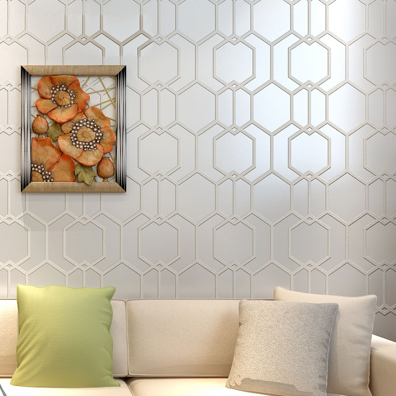 3D Stereoscopic Geometric Lattice Wallpaper Living Room Non-Woven Wall Paper Bedroom Sofa TV Background Wall Papers Home Decor
