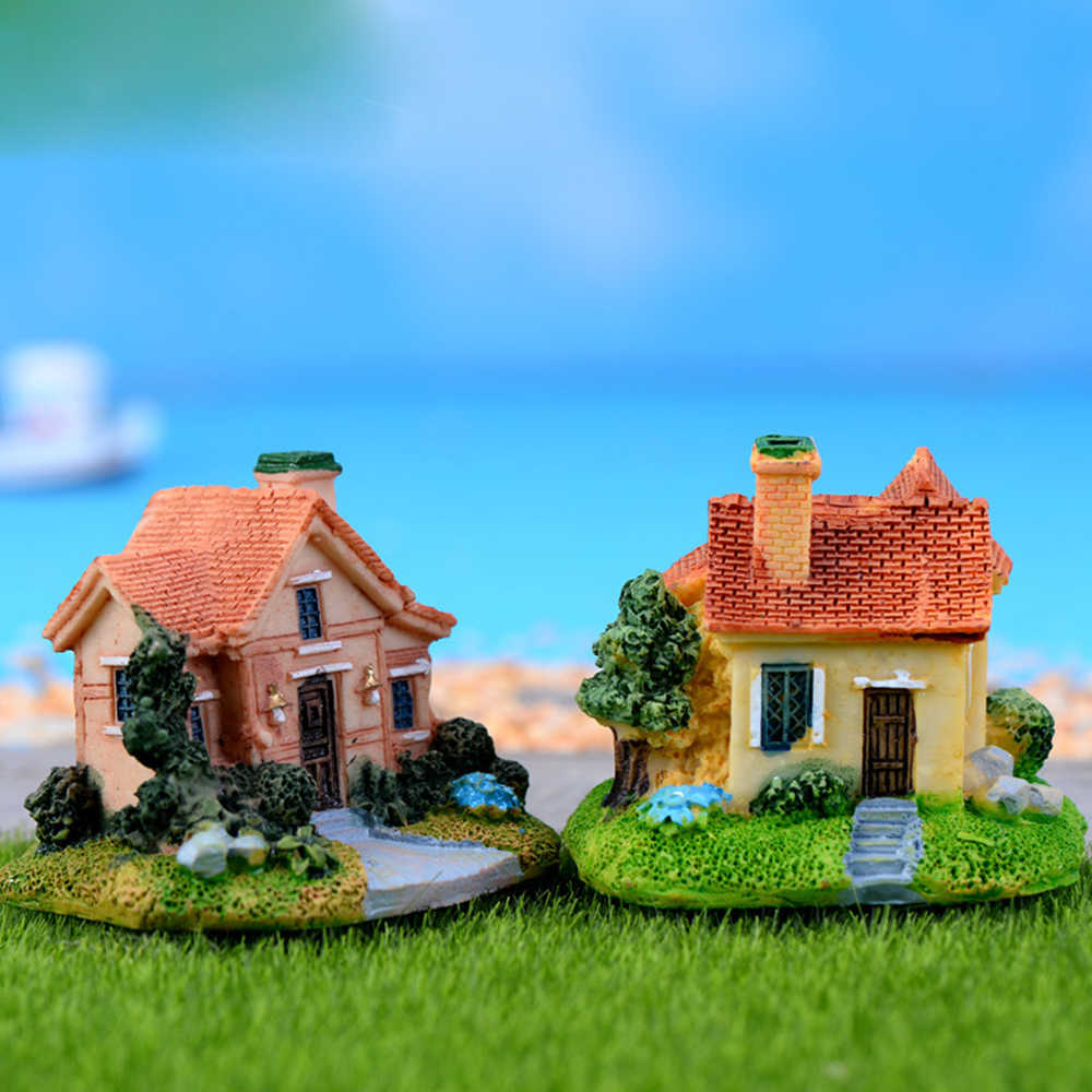 1Pcs Mini Villas Cottage Cute Bonsai Decor Resin Handicrafts Moss Terrarium  Miniature House Fairy Garden Figurines Random Color