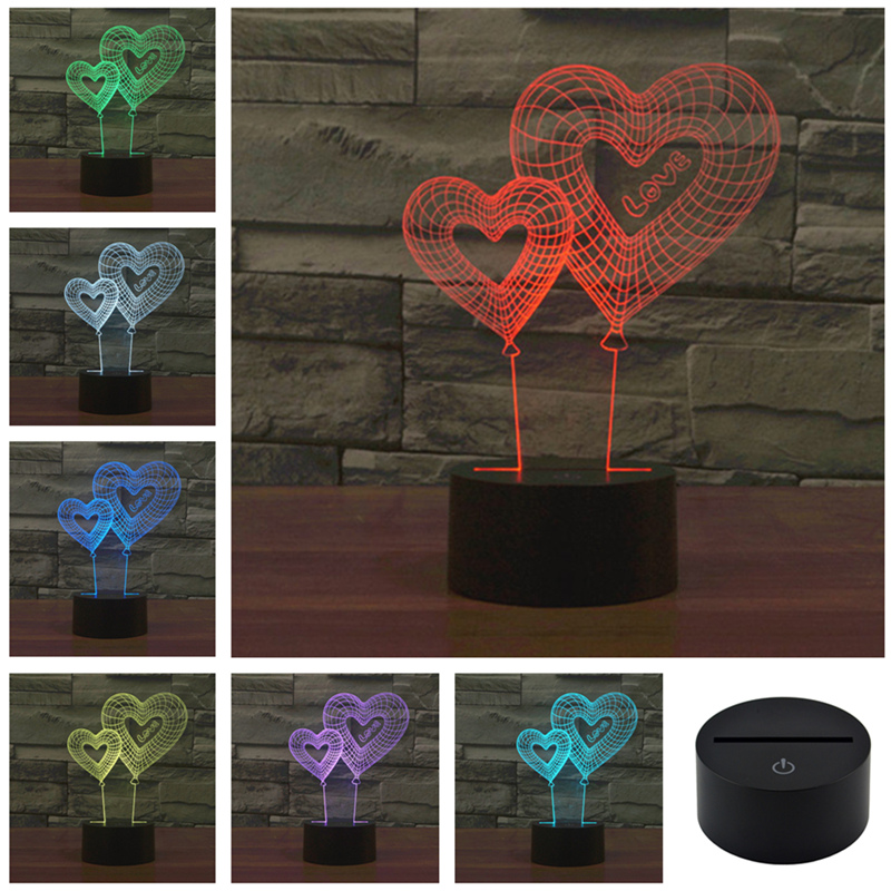 AUCD LED Christmas Double Love 3D Visual LED Night Light Acrylic 7 Color Gradient USB Desk Lamp Children Holiday Gift 3D-TD149D