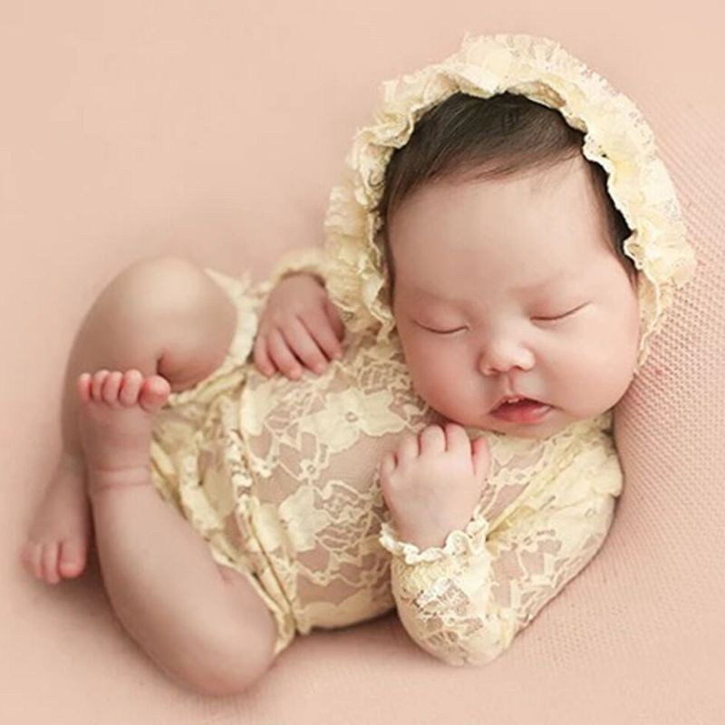 Newborn Photography PropsAccessories Infant Baby Photography Clothes Baby Lace Hat+Rompers Set Baby Girl Photo Props Accessory