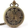 O envio gratuito de Bronze Antigo Borboleta Quartzo Relógio de Bolso Grande Colar de Pingente de Mulheres Presentes P40 relogio de bolso Das Mulheres Dos Homens