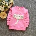 2017 Nueva Primavera Otoño de La Muchacha T-shirt Elefante Impresa de los Bebés Sudaderas de Color Rosa Color de Rosa Blanco Amarillo para 0-3 años de Los Niños