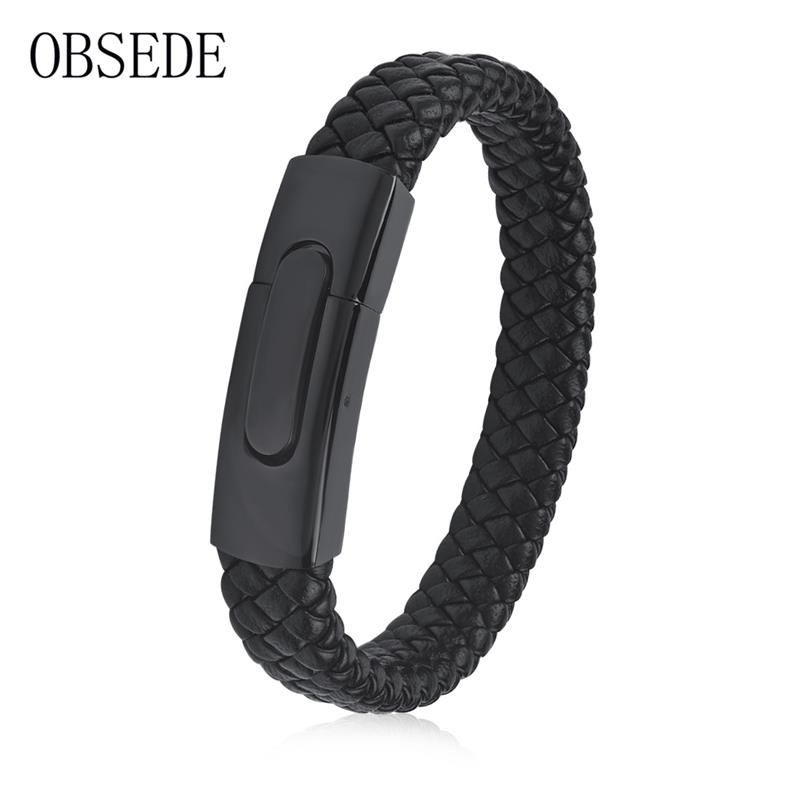 OBSEDE Fashion Braided Leather Bracelet Exquisite Black Stainless Steel Magnetic Clasp Bangles Rope Chain Vintage Style Gifts