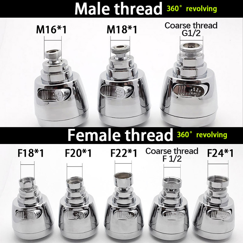 WASOURLF 360 Faucet Aerator Tap Adapter Kitchen Faucet Head Shower Chrome Spout Shower M18 M20 M22 M24 Female Thread Accessories