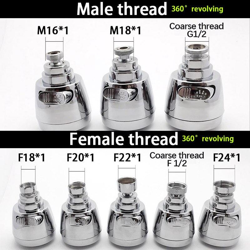 WASOURLF 360 Swivel Faucet Aerator Tap Nozzle Adapter Kitchen Faucet Sprayer Shower Chrome Spout M22 Female Thread Accessories