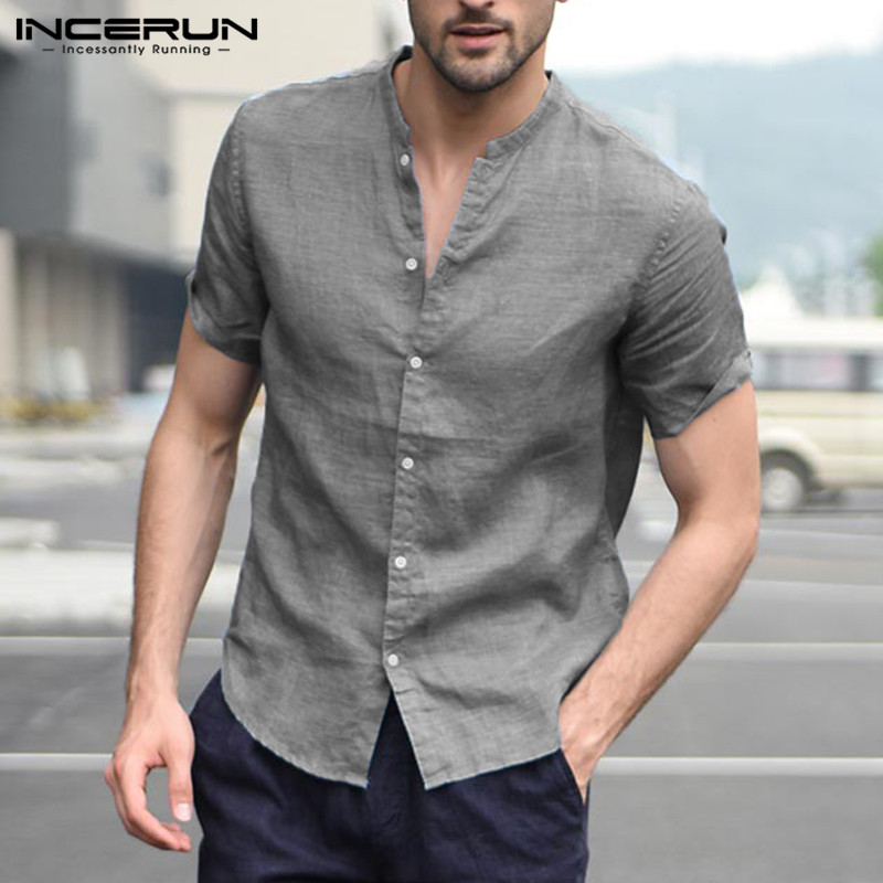 INCERUN Fashion Short Sleeve Men Shirt Stand Collar Solid Color Tops Summer Camisa Masculina Streetwear Men Casual Brand Shirts