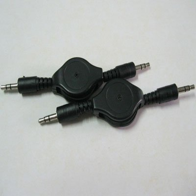 Free Shipping 2 x 3.5mm Male to M Retractable Stereo Audio Data Cable Mp3