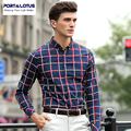 Port&Lotus Men Plaid Shirt Long Sleeve Mens Shirts Brand Clothing 193YDS1352 Mens Clothing camisa masculina