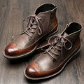 British Style Mens Genuine Leather Lace Up Brogue Wingtip Martin Boots Casual Winter Formal Dress Oxfords Fretwork Boots