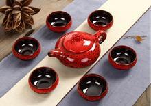 7 stücke tee-sets Taiwan riss 6 tee tassen und 1 teekanne, Kung Fu teaset. Die höchsten umsatz von tee-set. die kreative kaffeetasse