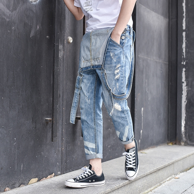 2017 New Mens Denim Overalls Men Casual 9 Pants Jeans Jumpsuits For Men With Holes Nine Length Pants M-3XL