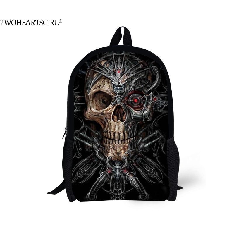 TWOHEARTSGIRL Black Solid 3D Printing Mechanical Skull Backpack for Men Rock College Student Cool Back Pack Boy Travel Rucksack