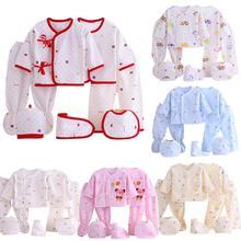 7 pcs/set Baby Newborn Girls Boys Soft Cotton Cartoon Printing Clothes Set Leisure Wear