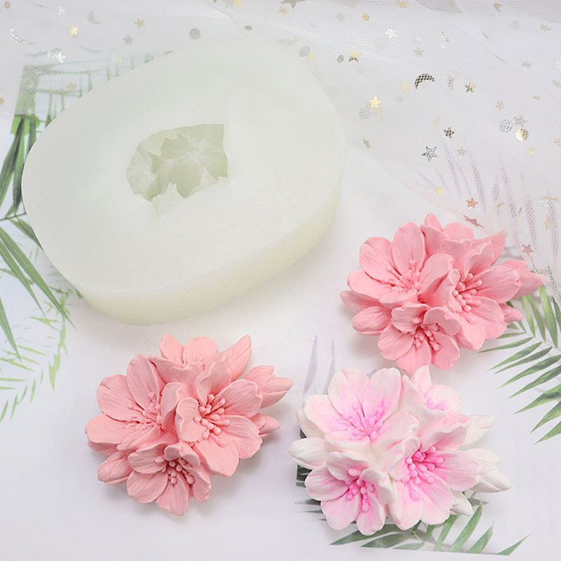 Cherry Flower Silicone Fondant Mold Handmade Soap Cake Candle Resin Molds Tools