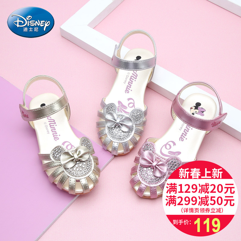Disney Lovely Girls Minnie Sandals Shoes 2018 Summer Fashion Crystal Bow Knot Girls Flat Princess Kids Sandals Shoes