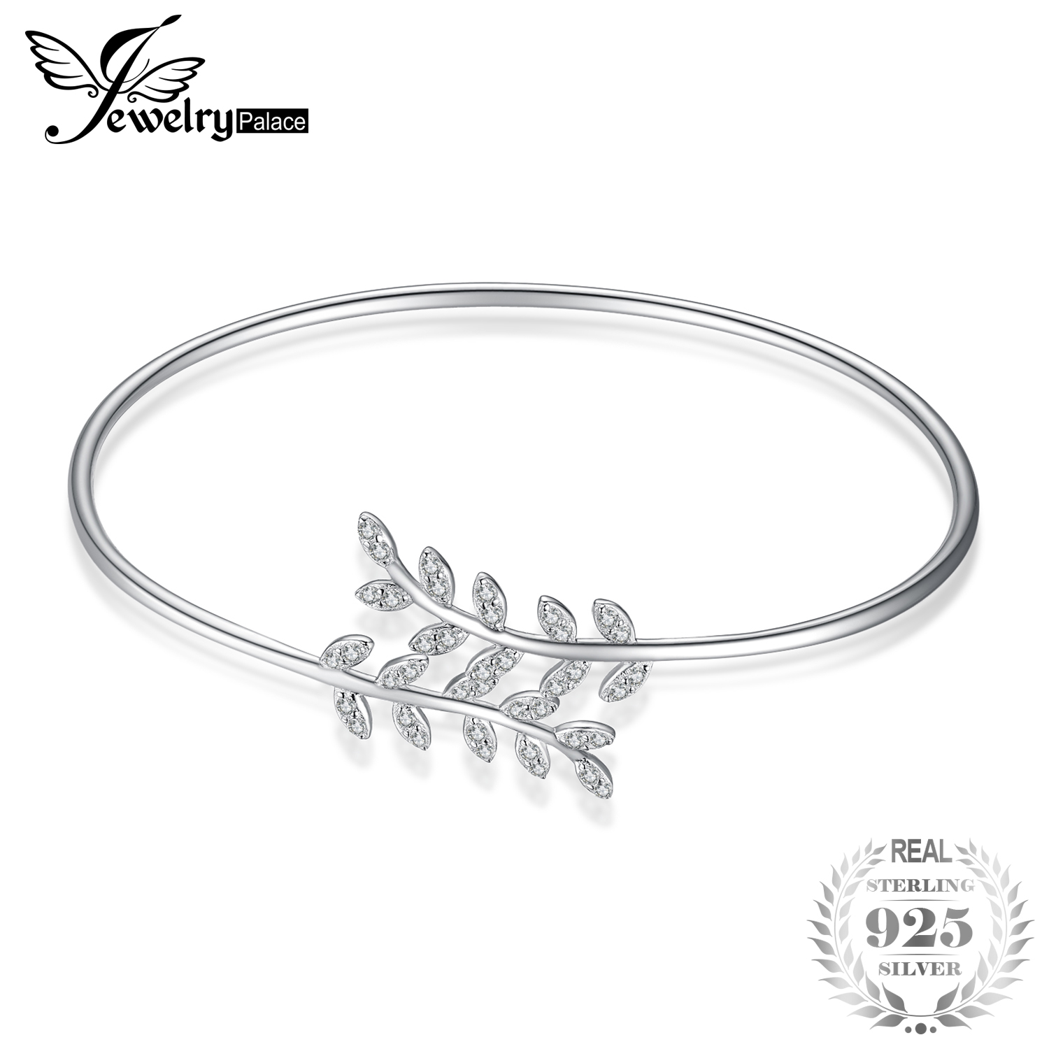 JewelryPalace Leaf 1.2ct Cubic Zirconia Adjustable Cuff Bracelet 925 Sterling Silver Fashion Open Leaf Cuff Bracelets For Women a suit of geometric leaf cuff rings