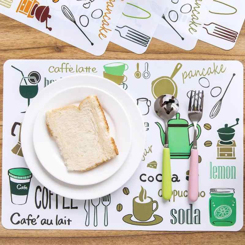 Cartoon Mats Fork Spoon Printed Dinner Placemats PVC Western Pad  Kitchen Plate Pot Mat Computer Pad Insulation Dinning Table Ma