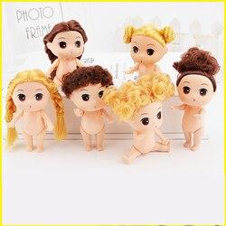 9 cm kleid-up Mini Ddung Puppen mit Braun/gold Brötchen-haar Backform puppen Mädchen Spielzeug Schaumbad Backen Bare mädchen puppen backform