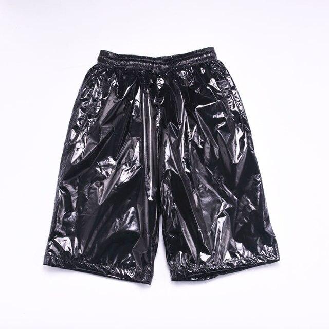 Fashion Men Shiny Metallic Shorts Night Club Dancing Wear Sexy Shorts Plus size 8XL Summer Motorcycle Metallic Short Pants X9097 3
