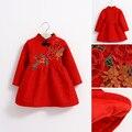 Новый Год Девочки Цветы Толстый Бархат Платье Принцессы Китайский Стиль Полный Рукав A-Line Девушка Красный Партия Свадебное Платье