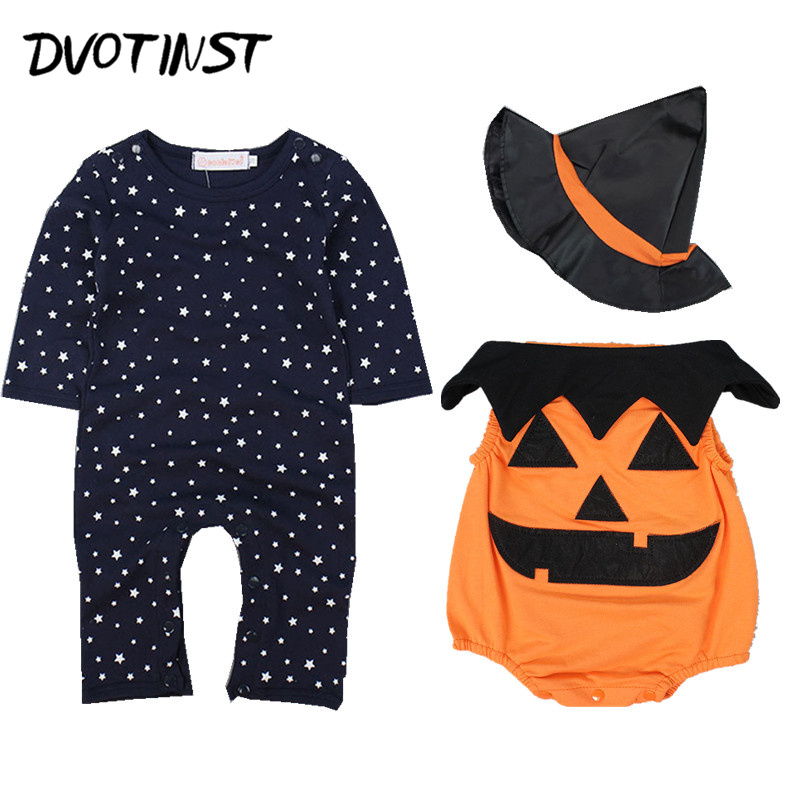 Baby Boys Clothes Full Sleeves Romper+Vest+Hat 3pcs Set Halloween Pumpkin Playsuit Outfit Infant Toddler Jumpsuit Party Costume