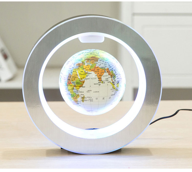 Novelty Round LED World Map Floating Globe Magnetic Levitation Light Antigravity Magic/Novel Lamp Birthday Home Dec Night lam novelty round led world map floating