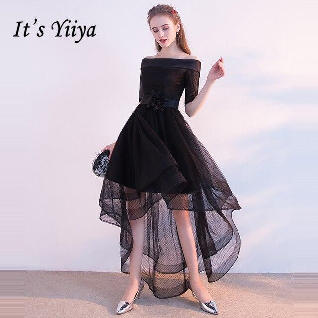 e12b72cd74f76 It's Yiiya Prom Dresses 2018 Girls Boat Neck Short Sleeve Flower  Asymmetrical Prom Gowns Party Dresses Formal Dresses LX904-in Prom Dresses  from ...