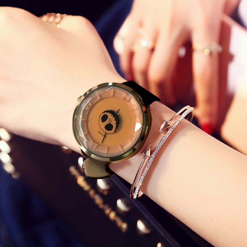 2017 SINOBI Skull Women Wrist Watches Leather Watchband Luxury Brand Lady Watch Fashion Female Geneva Pirate Relogio Feminino
