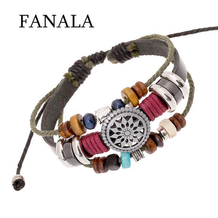 FANALA Bracelets Women Various Casual Geometric Layered Beads Drawstring Bracelets for Women