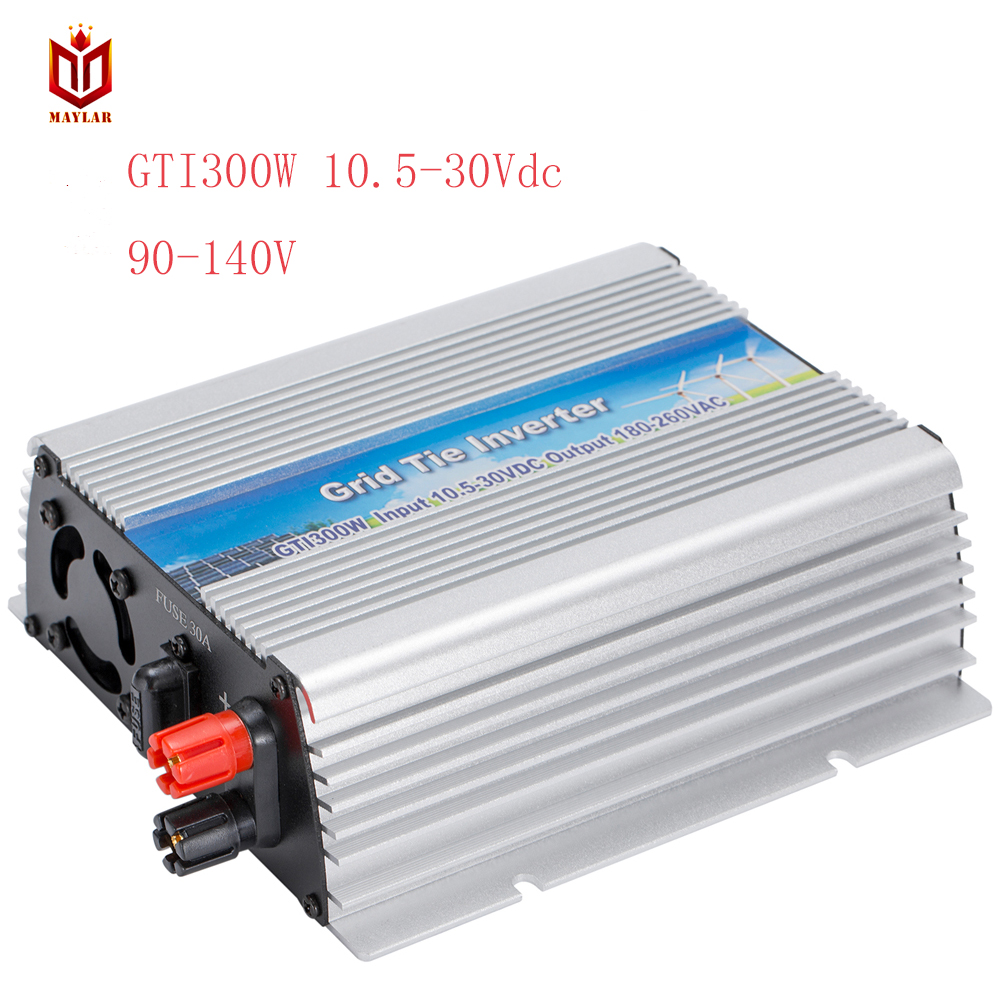 MAYLAR@ 10.5-30Vdc 300W Solar Grid Tie Pure Sine Wave Power Inverter Output 90-140Vac,50Hz/60Hz, For Home Solar Energy System maylar maylar 10 5 30vdc 500w pure sine wave solar grid tier inverter output 190 260vac power inverter for home solar system