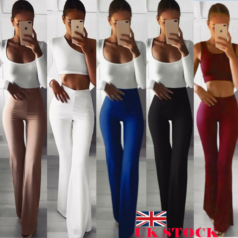 Women Solid High Waist Flare Wide Leg Chic Trousers Bell Bottom Solid Color Elasticity  Simple Fashion Pants 2020 New