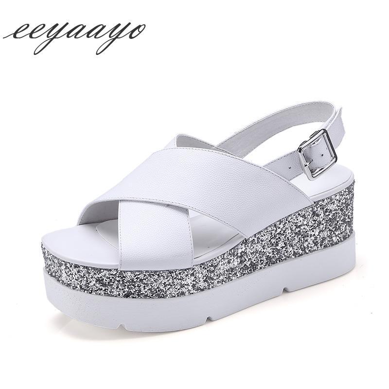 Genuine leather women sandals wedges heel with platform cow leather buckle strap cool casual style light white black shoes women venchale 2018 summer new fashion sandals wedges platform women shoes height heel 10 cm buckle strap casual cow leather sandals