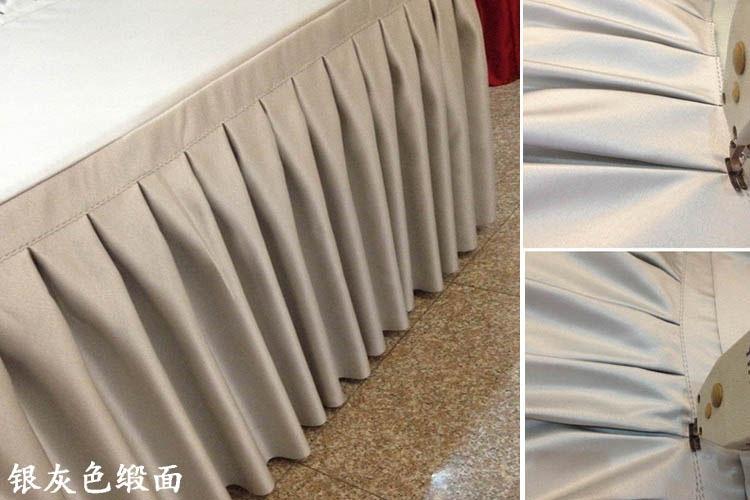 Quality thick satin face fabric table skirting wedding skirt home