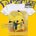 2016 Juego de Go niños de Algodón de Manga Corta Del O-cuello Camiseta Anime Japonés Pokemon Niños Niñas Camisetas Tee Shirts Tops