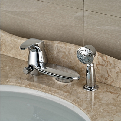 US Free Shipping Deck Mounted Bathroom Sink Faucet Pull Out Mixer Tap w/ Hand Shower Chrome Finish free shipping square wall mounted water tap bathroom sink faucet in chrome finish bf124