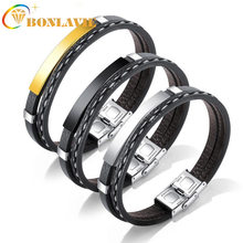 New Punk Style Stainless Steel Bracelet Golden Silver Color Smooth Leather Bracelet for Man(China)