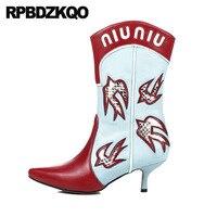 обувь стилет 12 44 Настоящая кожа вестерн острый носок больших размеров ботильоны пастушка 13 45 марочный ковбой Ботинки лодыжки для женщин сре