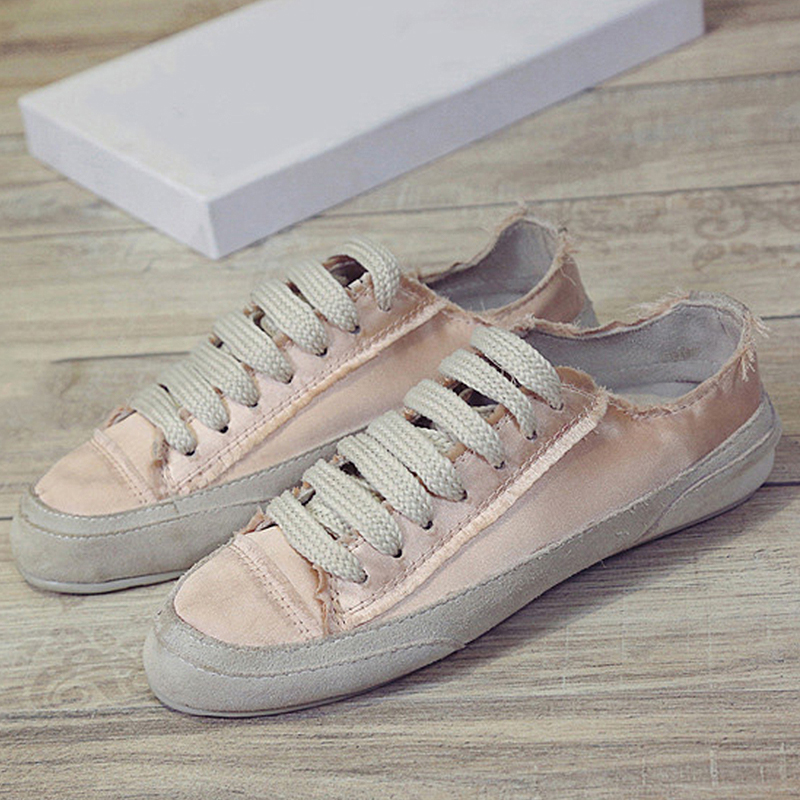 Vulcanisé white Sneakers Mcckle Toile Chaussures Femmes Appartements Up Confortable Lace Femelle Brillant Plat Printemps Vintage Casual Xb taPqwa