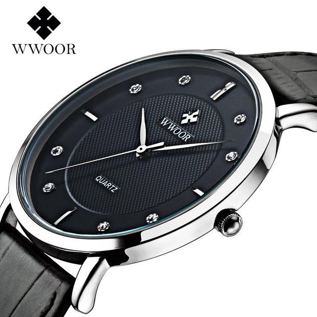 7da2eb82cf0 Marca wwoor relógios dos homens relógio de Quartzo dos homens relógios  relogio masculino couro Genuíno Projeto