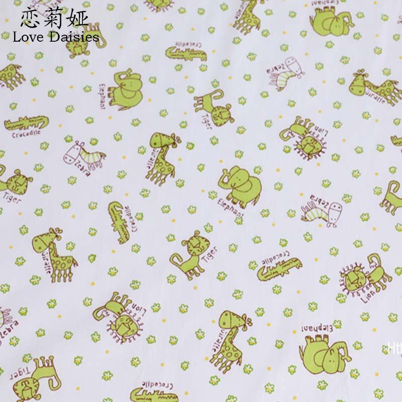 100% cotton twill cloth CARTOON animals small flowers green dots DIY for kids bedding cushions handwork quliting fabric textile